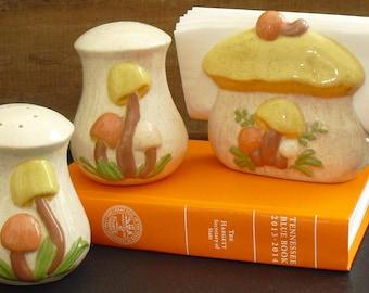 Vintage Mushroom Salt Pepper Napkin Holder Matching Set, 3 Piece, Ceramic, Novelty 1970s Hippie Decor, Kitschy Kitchen Serveware, Morels