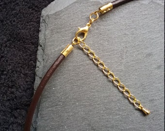 Handmade 3mm Plain Dark Coffee Brown Leather Necklace With 12mm Gold Plated Clasp and Extension Chain