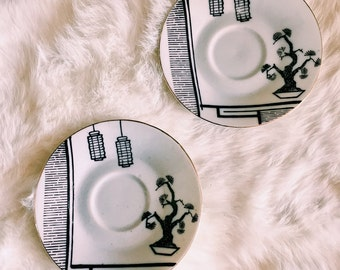Pair of Vintage Nikoniko Hand-Painted Saucer Plates / Trinket Dish / Jewelry Catchall