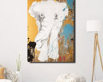 Canvas Elephant Print wall art, Elephant nursery, Large Wall Art, safari Animal Prints, Elephant Painting Print, Elephant Canvas Print #527E