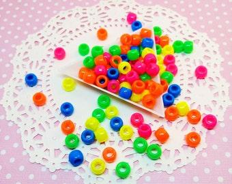 100pc Neon Pony Beads 8mm Kawaii Plastic Bead Mix Beading Jewelry Craft DIY