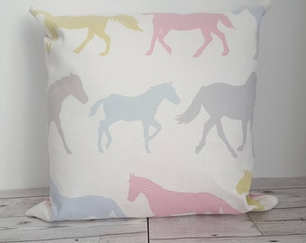 Horse plain cushion cover in Clarke and Clarke Stampede fabric 45cm x 45cm