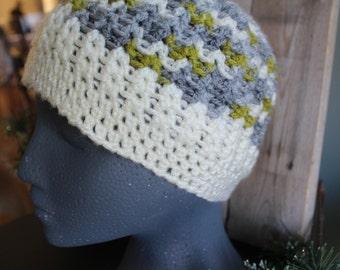 women's hat - ivory, grey, moss