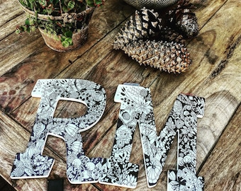 Intricate Wooden Letter Art,  Made to Order - hand illustrated - Floral (shown) or Sea Shell Motif avail. - wedding, nursery, wallart, gift