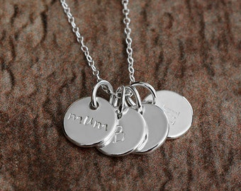Mothers Day Gift, Family Tree Necklace, Personalised Gift Mum, Initial Necklace Sterling Silver, Hand Stamped Jewellery,Round Pendant, Charm