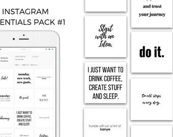 The Essential Instagram Social Media Post Bundle   Minimal, Black & White 69 PACK
