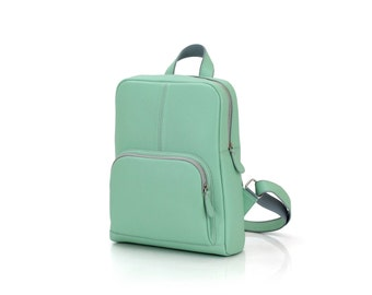 Leather backpack for her / Mint backpack / A4 backpack / Womens backpack / Backpack laptop 13' / Mint leather / Ladies backpack / To order