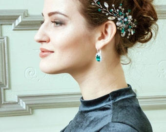 Bridal Headpiece Crystal headpiece prom hairpiece emerald headpiece Bridal Wedding Hair Piece pearl Green Headpiece bridal hair Crystal