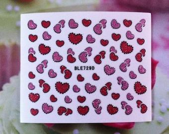 Assorted Glitter Hearts Nail Stickers Nail Art B173