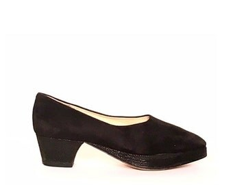 CLAUDIA CIUCI Black Suede 1940's Inspired Platform Pumps