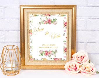 Floral Wedding Save the Date / Gold foil / Calligraphy / Vintage / Romantic / Custom-designed / Digital / Printable / Shabby chic / Summer