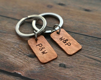 Couples Keychain Set Personalized Couples Gift boyfriend girlfriend Keychains Wedding Gift Love Keychain engagement gift Copper Valentine