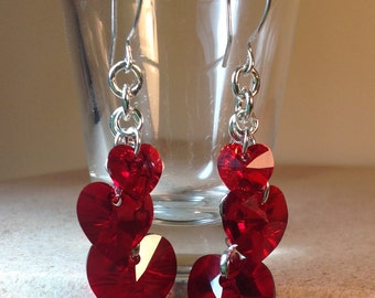 Hearts in Chains, Red Hearts, Swarovski Hearts, Romantic earrings, Statement earrings, Red, Swarovski,