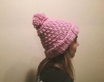 Handmade Chunky Pink Pom-Pom Beanie