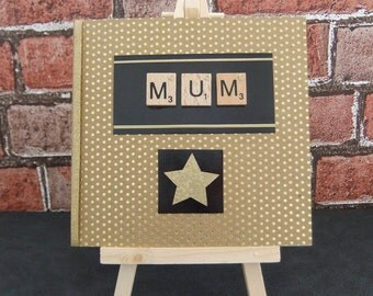 Scrabble mothers day card, card for mum, scrabble mum card, black and gold, birthday card for mum, UK
