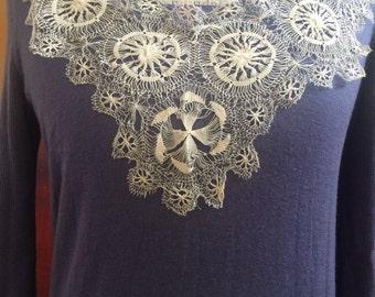 Edwardian Vintage Cream Lace Collar, Intricate Lace Detail, Curved Lace Piece, Curved Lace Collar