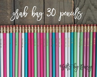 Grab Bag of 30 pencils Imperfect Motivational Pencil Set, Set Hex Pencils, Gold Foil Pencils, back to school gifts for her, teacher gifts
