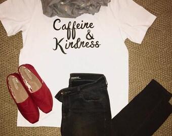 Women's Short Sleeve Graphic Tee- Caffeine & Kindness