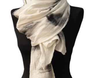 WINTER SALE, Minimalist white scarf, Womens scarf, White scarf, Felted scarf, White shawl, Nuno felted scarf, Merino wool scarf, Sciarpa