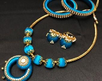 Turquoise Blue Silk Thread Jewelry - Silk Thread Jewelry Set - Indian Jewelry Set - Indian Bridal Set - Jhumki Earring - Indian Silk Bangles