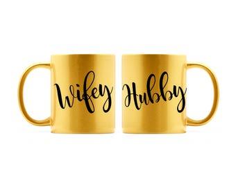 CLEARANCE - Wifey and Hubby Gold Coffee Mugs | Couple Mugs | Newly Engaged Gifts | Anniversary Gifts | Wifey Mug | Hubby Mug