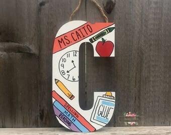 teacher letters, teacher appreciation gift, gift for teacher, back to school gift, teacher name accessories, teacher appreciation week