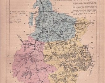 french vintage. Detailed map of the Department of the HAUTES-PYRENEES. 1880 colors. Beautiful details. France.