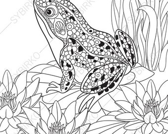 adult coloring pages frog zentangle doodle coloring book page for adults digital illustration - Coloring Pages Frogs Toads