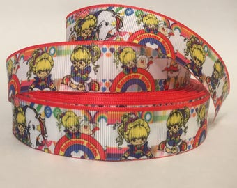 "1/3/5/10 Yards - 1"" Rainbow Brite Grosgrain Ribbon Nostalgic DIY 80s Kid 90s Kid"