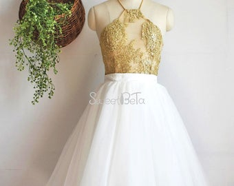 Ivory knee length ball grow tutu tulle skirt, women parm tutu skirt, party skirt, wedding skirt