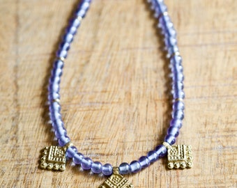 Periwinkle Blue Indian Brass Necklace