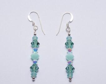 Mint Green Swarovski Crystal Earrings