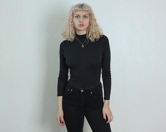 90s Turtleneck Bodysuit // Vintage Gap 1990s Grunge Leotard Top Long Sleeved Blouse Black - Medium