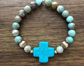 Turquoise and Brown Cross Bracelet