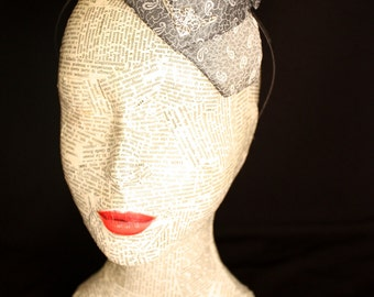 Pure silk grey fascinator