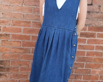 Vintage Denim Jumper Dress w/ Button-lined Sides- S/M