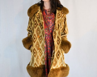 Vintage 1970's Faux Fur Trim Coat Size S