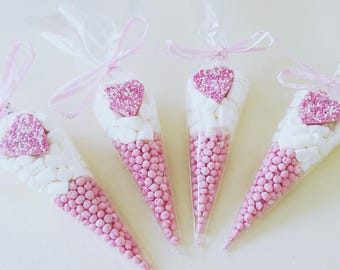 Pastel Pink Heart Themed Party Sweet Cones - Birthday, Baby Shower, Christening, Wedding, Hen Party Favours