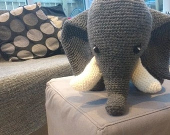 Large Crocheted Elephant Plush Toy - Amigurumi