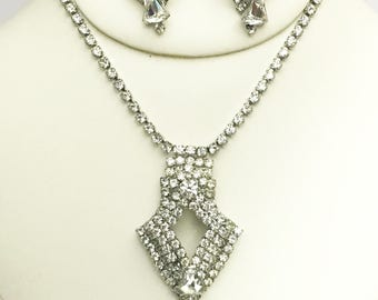 Huge Vintage Showy White Ice Art Deco Rhinestone Necklace and Earrings