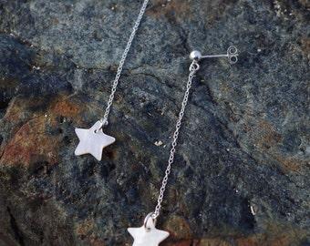 Silver Shell Earrings. Natural Shell Bead. Sterling Silver. Stud Drop Earrings. Silver jewellery