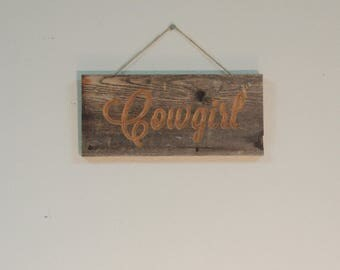 Cowgirl Wall Plaque - Rustic