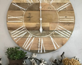 Roman Numeral Clock Roman Numeral Big Wall Clock Farmhouse Clock Oversized Wall Clock Handmade Wooden Clock Pallet Clock Rustic Big Clock