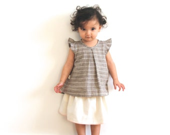 Linen top with flutter sleeves for children 1-7 years