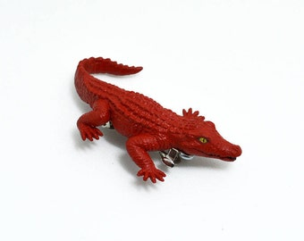 Upcycled Cadmium Red Crocodile Hair Clip/ Barrette, by And She Clung