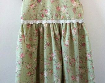 Dress girls green floral party, Barley Mouse, age 4, individually made in the UK
