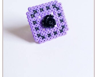 """Ring """"Black Rose Collection"""" Purple/black / hama beads / pixel"""