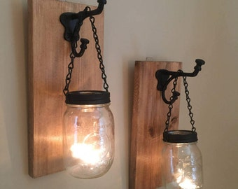 Rustic Mason Jar Wall Sconces / Candle Sconces