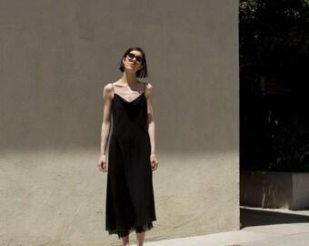 90s Vintage Minimal Black Asymmetrical Raw Edge Silk Trim Slip Style Dress Midi/Maxi Sz 12