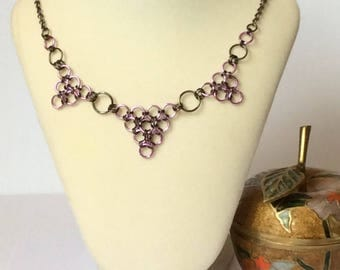 Japanese Weave Pink Chainmail Necklace, 30 inches in Length